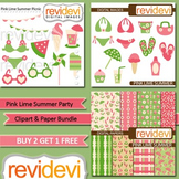 Pink lime summer party clip art (3 packs)