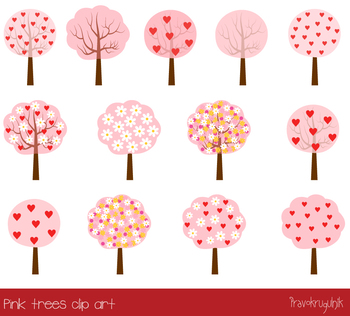 Pink love trees clipart, Red heart tree clip art, Flower tree, floral blossom