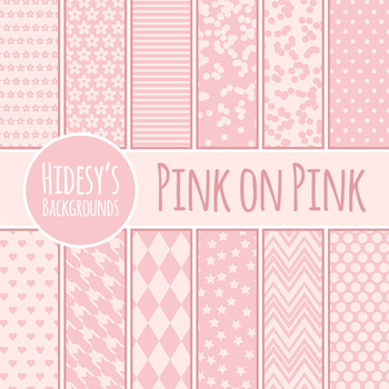 Pink on Pink Backgrounds / Digital Papers Clip Art Set for Commercial Use