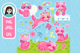 Pink racoon clipart