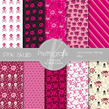 Pink skulls digital paper, commercial use, scrapbook papers, background - PS531