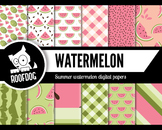 Pink summer watermelon digital papers summer fruit patterns
