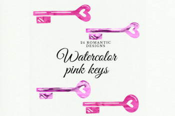 Pink watercolor keys, Watercolor Vintage Keys Clipart, Watercolor keyholes clip