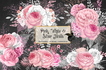 Pink, white and silver floral clipart, rustic watercolor flower clip art