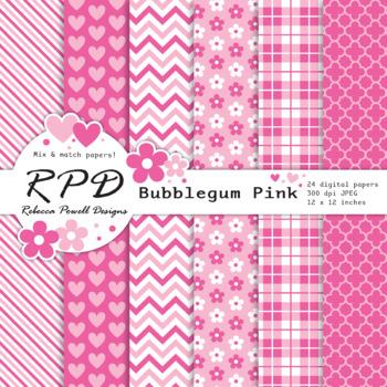 Pink & white, mix & match patterns digital paper set/ backgrounds