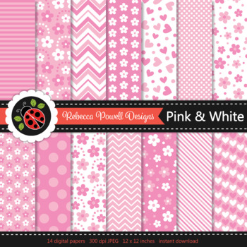 Pink & white patterns digital papers set/ classroom backgrounds