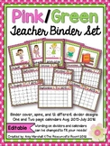 Pink&Green Editable Teacher Binder/Calendar Set