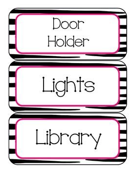 Pink/Green Zebra Classroom Helpers