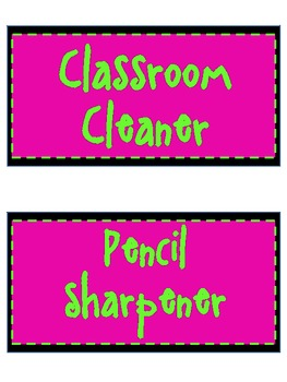Pink/Lime Classroom Helper Set