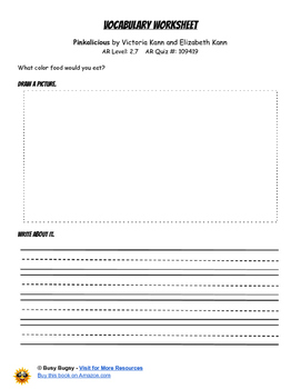 Pinkalicious  by Victoria Kann and Elizabeth Kann  Reading Worksheets