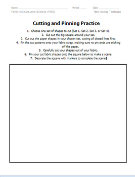 Pinning & Cutting Sewing & Fashion Activity/Assessment