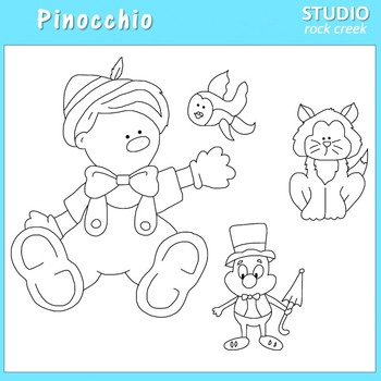 Pinocchio Line Drawings Clip Art  C. Seslar