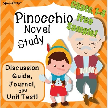 Pinocchio Novel Study BUNDLE Chpts 1 to 4 FREEBIE