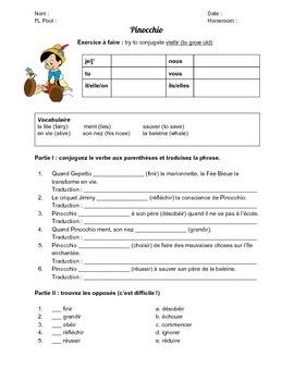 Pinocchio (les verbes du deuxième groupe)