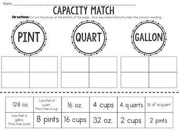 Capacity: Pint, Quart, or Gallon? Cut and Paste Sorting Activity