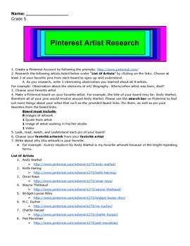 Pinterest Artist Research