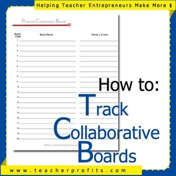 Pinterest Collaborative Boards Tracking Pins Sheet