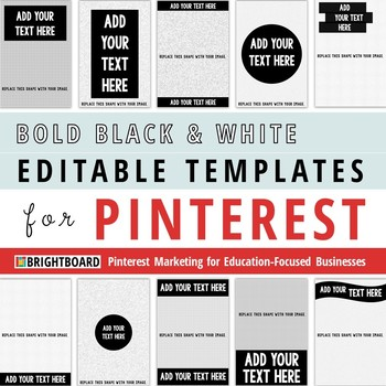 Pinterest Image Templates: Bold Black and White