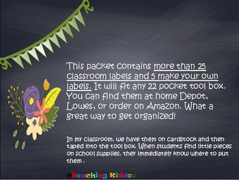 Pinterest Toolbox FLORAL theme for classroom organization