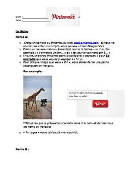 Pinterest Travel Activity- Les prépositions