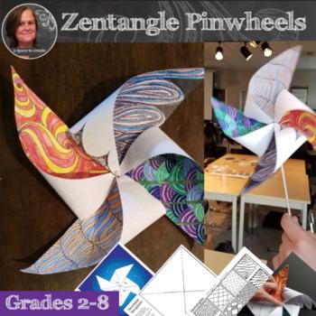Pinwheel Art Activity - Zentangle Pinwheels