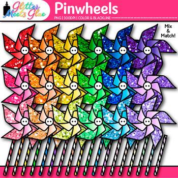 Rainbow Pinwheel Clip Art {Glitter Graphics for Spring and Summer Activities}