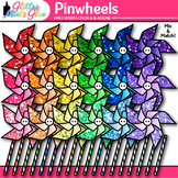 Rainbow Pinwheel Clip Art {Glitter Graphics for Spring and