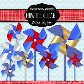 Pinwheel Clipart, Red, White, Blue, and Gold Pinwheels, 4th of July Clipart