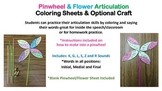 Pinwheel & Flower Articulation Words Coloring Sheets & Craft: K, G, L, S, Z, R