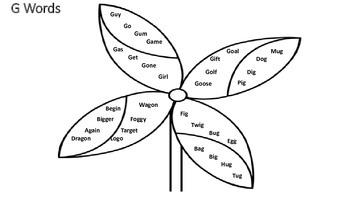 Pinwheel & Flower Articulation Words Coloring Sheets & Craft: K, G, L, S, Z, R