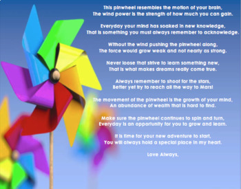 Pinwheel Poem- End of the Year Gift