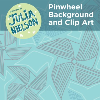 Pinwheel background and clipart set