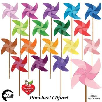 Pinwheel Clipart, Pinwheels Clip Art, {Best Teacher Tools}, AMB-517