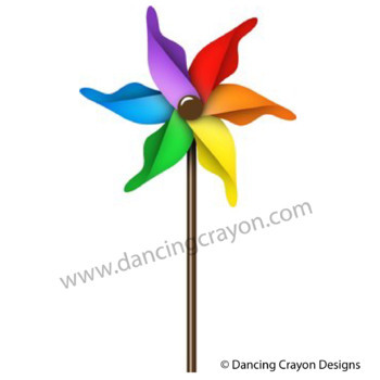 Pinwheels Clip Art: Colorful Rainbow Pinwheels Clipart Set