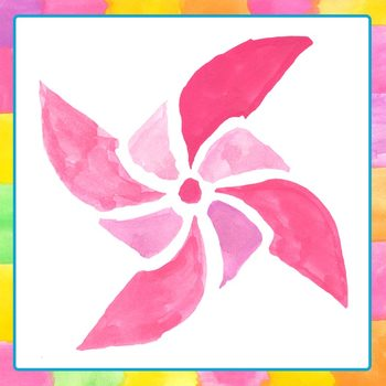 Pinwheels Handpainted Watercolor Clip Art Commercial Use