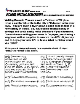 Pioneer Writing Assignment UNit 05 Mexican National Era and Empresarios