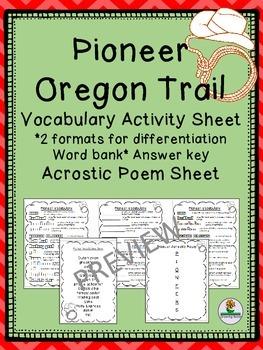 Pioneer Oregon Trail Vocab Sheets, Word Bank and Acrostic Poem Frame