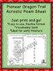 Pioneer Oregon Trail Vocab Sheets, Word Bank and Acrostic Poem Frame
