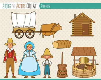 Pioneers Clip Art - color and outlines