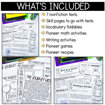 Pioneers:  Pioneer-themed math and ELA common core learning activities