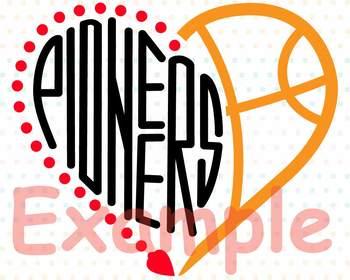 Pioneers Sport Heart SVG NFL nba mlb ncaaf Cheer high School Spirit 905S