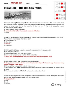 Pioneers:  The Oregon Trail ELA Informational Text Test Prep Passage
