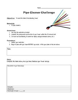 Pipe Cleaner Tower STEM Challenge Worksheet