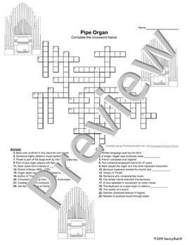 Pipe Organ - Music Listening Activity Sheet and Crossword, Bach/Vierne Bios