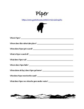 Piper Disney Pixar Short Companion Worksheet