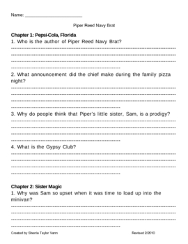 Piper Reed Navy Brat by Kimberly Willis Holt Comprehension Questions