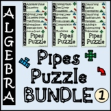 Pipes Puzzle Activity BUNDLE 1 - Algebra