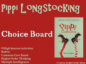 Pippi Longstocking Choice Board Novel Study Activities Menu Book Project