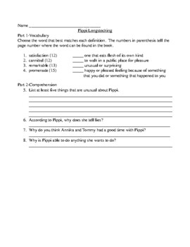 Pippi Longstocking Comprehension and Vocabulary Packet