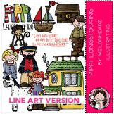 Pippi Longstocking clip art - LINE ART- by Melonheadz